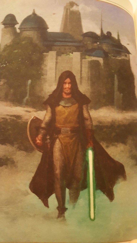 A man holding a green lightsaber